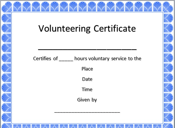 volunteering certificate template 11