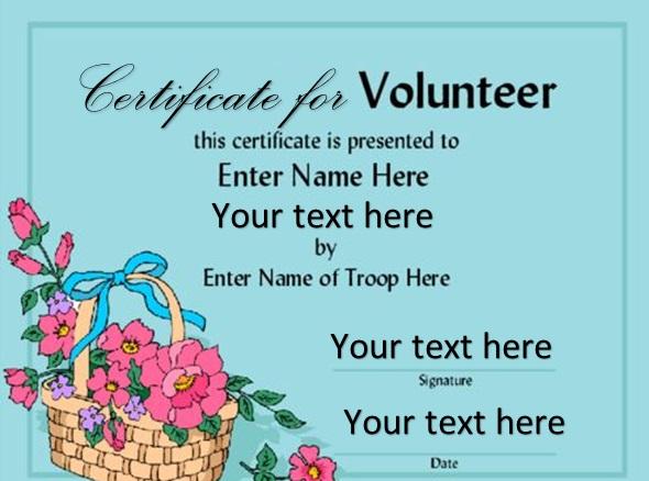 volunteering certificate template 15