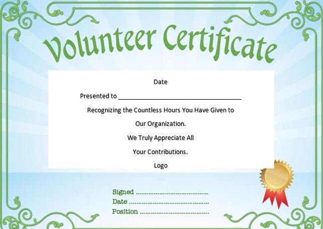 volunteering certificate template 17