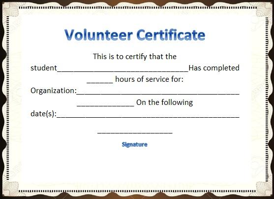 volunteering certificate template 18