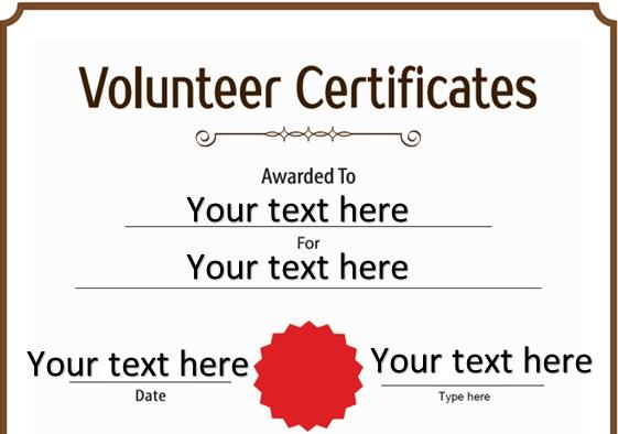 volunteering certificate template 2