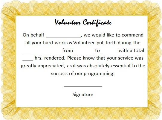 volunteering certificate template 21