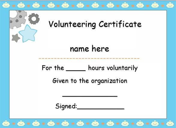 volunteering certificate template 24