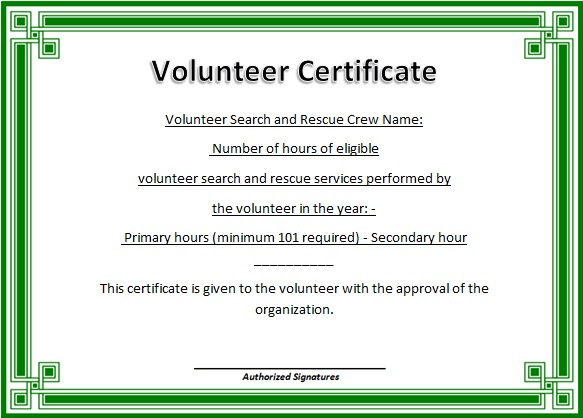 volunteering certificate template 26