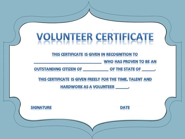 volunteering certificate template 31