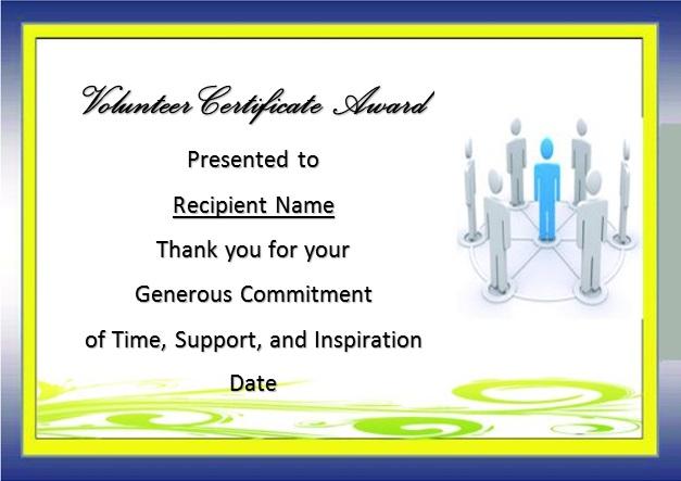 volunteering certificate template 5