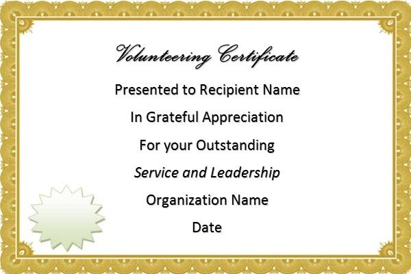 volunteering certificate template 6