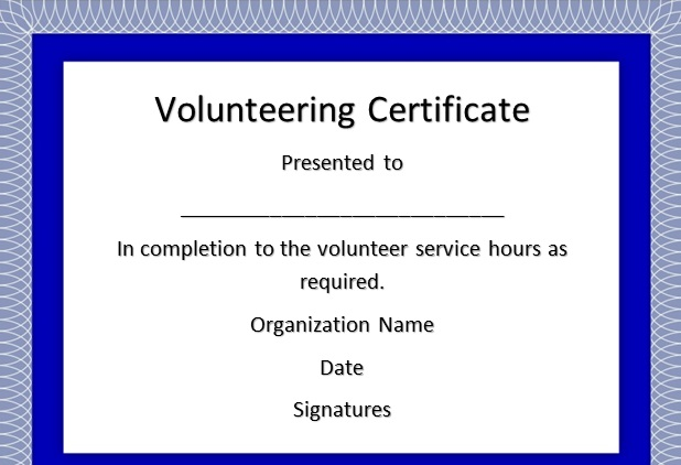 volunteering certificate template 8