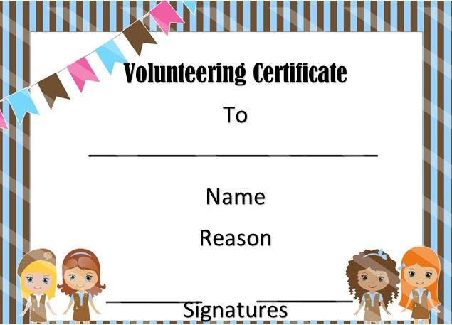volunteering certificate template